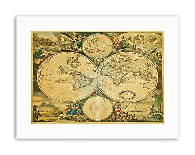 MAP WORLD GLOBE HISTORY ILLUSTRATED NEW Poster Picture Vintage Canvas art Prints