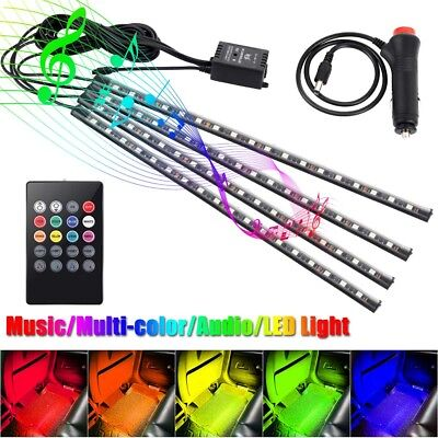 4x LED 5050 18SMD Remote Control RGB Car Interior Floor Sound Active Light Strip