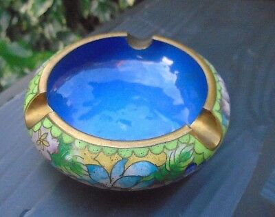Vintage CHINESE CLOISONNE Green & Blue Floral Blossom Decoration Ashtray