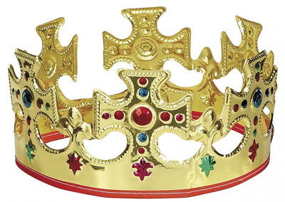 Unique Gold Plastic Jeweled King Crown (3)