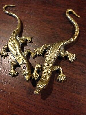 Pair Of Art Nouveau Brass Salamander figurines