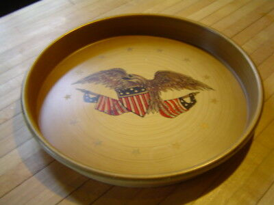 Nashco Toleware Bald Eagle 13 Star American Flag Tin Tray Very Good Condition