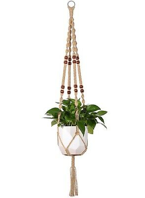 Mkono Macrame Plant Hanger Indoor Outdoor Hanging Planter Basket Jute Rope