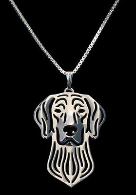 Weimaraner Dog Pendant Necklace - Silver Plated -  Rescue Charity Auction