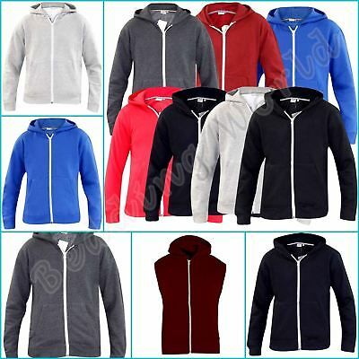Mens Unisex SweatShirt Plain Branded Hooded Fleece Zip Up Jacket Ziper Hoodie