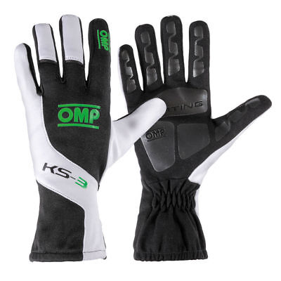 OMP KS3 Gloves XS Black-white Green Karting CHEAP DELIVERY WORLD Kart Rally Race