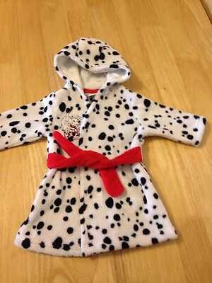 101 Dalmatians  baby Dressing Gown  Bath Robe - very soft - up to 1 months