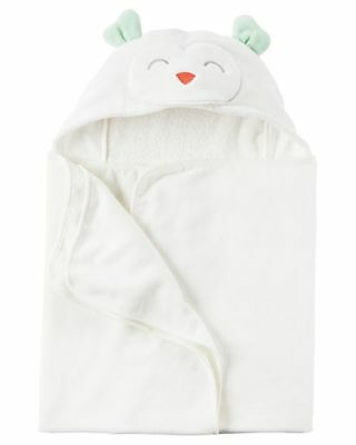 New Carter's Hooded Bath Towel Happy Owl Terry Material NWT Boy Girl Ivory