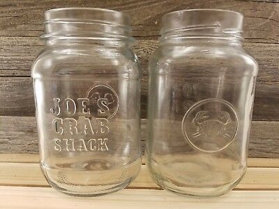 "EUC Joe/'s Crab Shack Mason Jar Glass Clear Embossed Logo /& Crab 5.5/"" Tall"