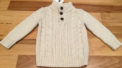 Baby Gap Boys 4 / 4T Sweater. Cream White With Fleece Collar Sweater. Nwt