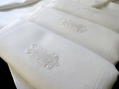 ULTRA FINE Set 12 Antique Linen Damask XL Napkins Hand Embroidery Monogram 27x27