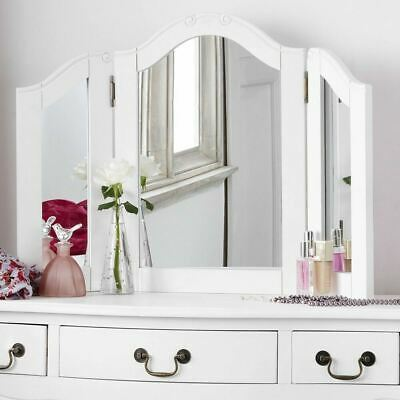 JULIETTE Shabby Chic White DressingTable Mirror,Stunning Large 3-way mirror ONLY