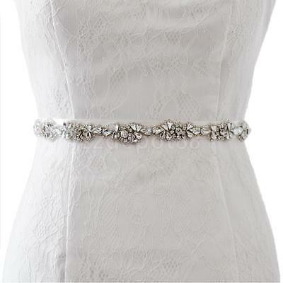 Vintage Bridal Clear Rhinestone Applique Sash Wedding Dress Belt 2.5cm