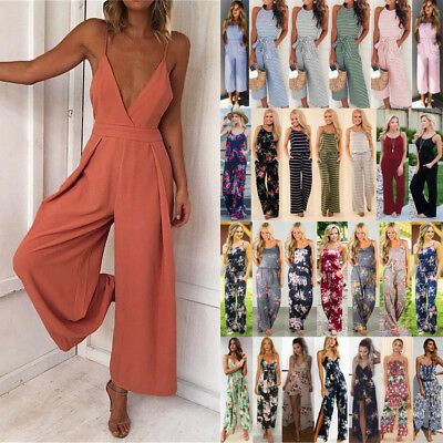 UK Boho Womens Strap V Neck Backless Holiday Playsuit Dress Long Beach Jumpsuit
