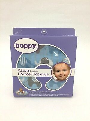 Boppy Breast Feeding Pillow Slipcover: Blue I Elephants