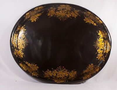 Antique Large Black and Gold Toleware Tray 28""