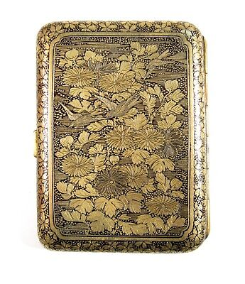 Exquisite Japanese Meiji Damascene Niello Gold Engraved Cigarette Card Case