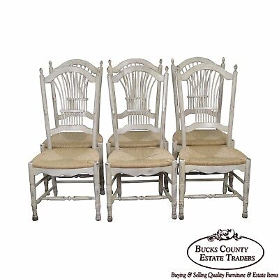 French Country Style Set of 6 Wheat Back Painted Rush Seat Dining Chairs