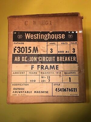 Westinghouse Breaker F3015M, 3 Amps 3 Pole 600Vac New