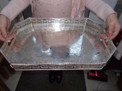 """Superb Vintage Octagonal Silver Plated Tray Ornate Gallery Pad Feet 18.5"""" (47Cm)"""