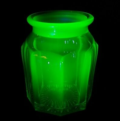 "Antique Late 1800s Hefty Uranium Glass Biscuit Jar 4""x5.75"" Missing Lid EXC"