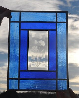 stained glass panel window cobalt blue and etched bevel HUMMINGBIRD or BUTTERFLY