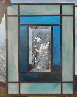 stained glass panel window aqua blue and etched bevel HUMMINGBIRD or FLOWERS