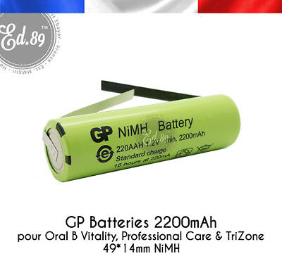 Batterie remplacement GP Batteries 2200mAh Oral B Vitality 3709 3737