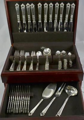 95pc Frigast Danish Crown Pattern Sterling Silver Flatware Set Denmark