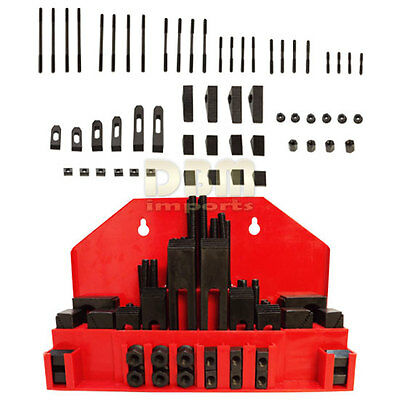 """52 PC Clamping Kit T-Slot 1/2"""" End Clamp Flange Coupling Nut Step Block Set"""
