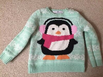Girls Christmas Jumper age 18-24 months M&S and pink fleece