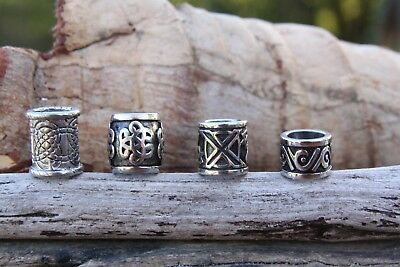 4 Stainless Steel 8mm/9mm Hole (5/8 Inch) Dreadlock Beads viking beard