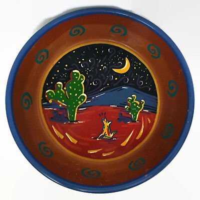 Southwest Style Coyote Howling Cactus Red Clay Dish Hand Painted Italian Western