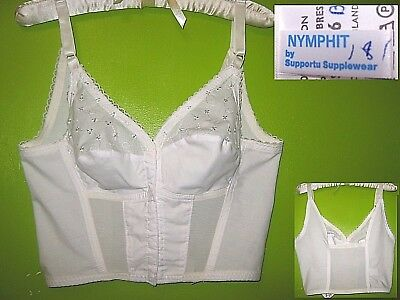 Bnwt Nymphit Front Fasten Long Cotton/poly Broderie Anglais Bra Stretch Back 36B