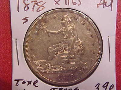 1878 S Trade Dollar - Tone/Cleaned - Au - See Pics! - (X1165)