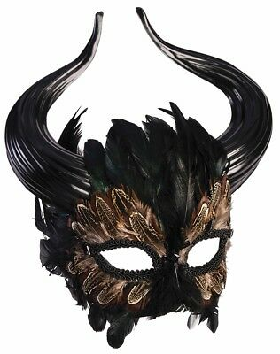 Mythical Creature Greek Minotaur Masquerade Mask Horns Bull Man Feathers Fantasy
