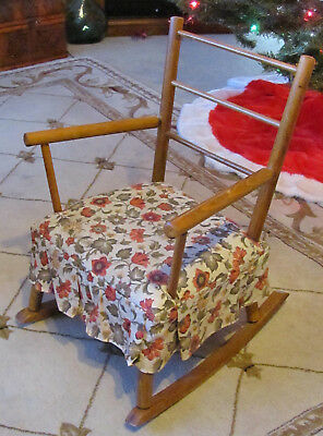 Vintage Wooden Child's Rocker Padded Seat With Skirt