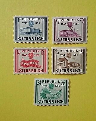 Austria 1955 Stamps Anniversary of Republic MH