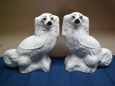 Pair of Large Antique Mid 19th Century Staffordshire Dogs with Glass Eyes