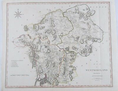 Antique 1805 Hand Colored Engraving Map of Westmoreland England by John Cary