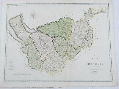 Antique 1805 Hand Colored Engraving Map of Cheshire England by John Cary