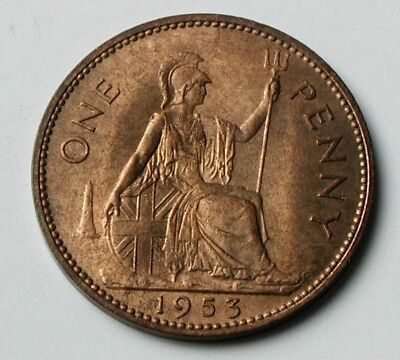 1953 UK (British) Elizabeth II Coin - One Penny (1d) - UNC - toned-lustre