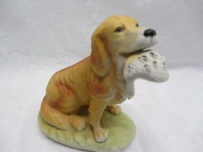 Setter Dog With Duck In His Mouth Figurine