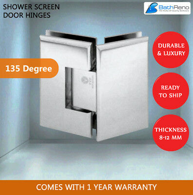 2 x FRAMELESS DIAMOND SHOWER SCREEN DOOR HINGES 135 DEGREE SOLD OUT