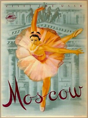 Visit the USSR Moscow Russia Vintage Ballet Travel Advertisement Poster Print