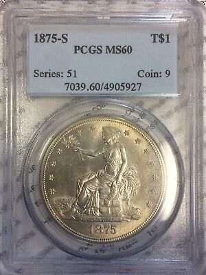 1875-S $1 Silver Trade Dollar PCGS MS60 Lustrous Beauty!