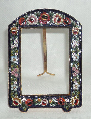 "BEAUTIFUL VTG ANTIQUE FLORAL MICRO MOSAIC PICTURE PHOTO FRAME 3¼"" x 2¼"""