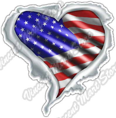 USA Heart Flag Love United States of America Car Bumper Vinyl Sticker Decal 4.6""