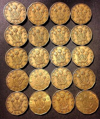 Vintage Great Britain Coin Lot! 1937-1944- 3 PENCE - 20 Excellent Coins - #D5