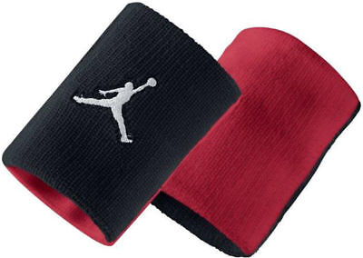 NWT Jordan Wristband 100% Authentic Black Red Adult Unisex 2-Pack 619352 010